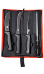 Buffalo River Hunters 4 Piece Knife Set with Steel - in a Cordura Zippered Case