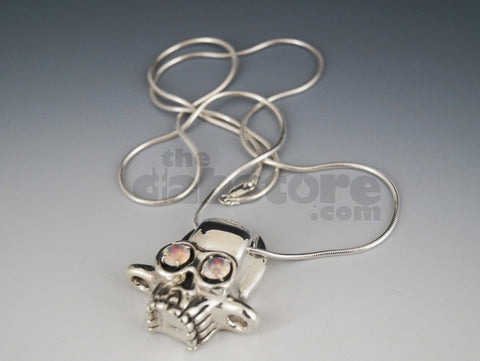 AKM Silver Skull Pendant With 8 MM Faceted Rainbow Opals #18