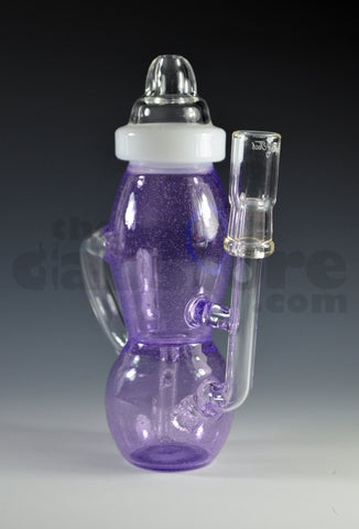 High Tech Glassworks Purple Rain Baked Baby Bottle Recycler 14 MM