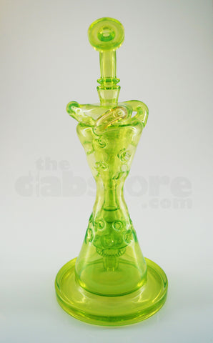Mad Rob Glass - Fab Hour Glass Recycler Illuminati Green Stardust & Slyme