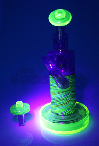 Pyrology Glass - 14 MM F OG Recycler Illuminati Purple Lollipop  Reticello