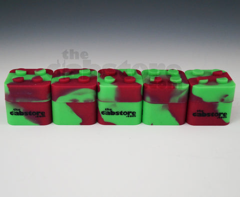 Red/Green Colored Silicone Lego Block Non Stick Container 5 count