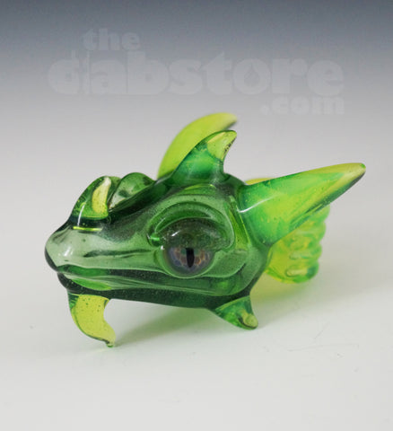 Scoz Glass Dragon Head Pendant Green Star Dust Over Slyme w/ Pruple Eyes