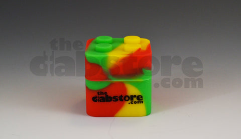 Silicone Dab Block in Rasta Colors no stick lego block
