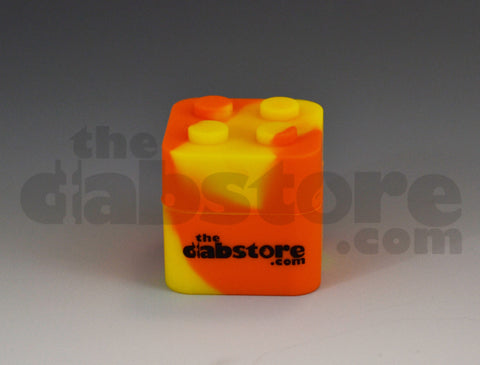 Silicone Lego Block Wax Container yellow and orange