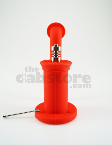 Silicone Dabbing Bubbler with Titanium Nail & Dabber (Red)
