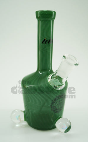 iDab Glass - 10 mm Forest Green Mini Bottle Rig W/ Faceted Opals
