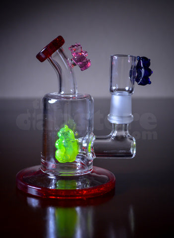Logjam Glass Gummy Bear Mini Bent Neck Rig 14 MM