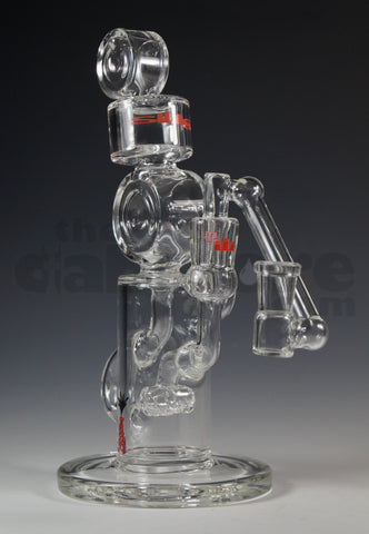 Silika Glass Triple Puck Klein Recycler Red 14 MM
