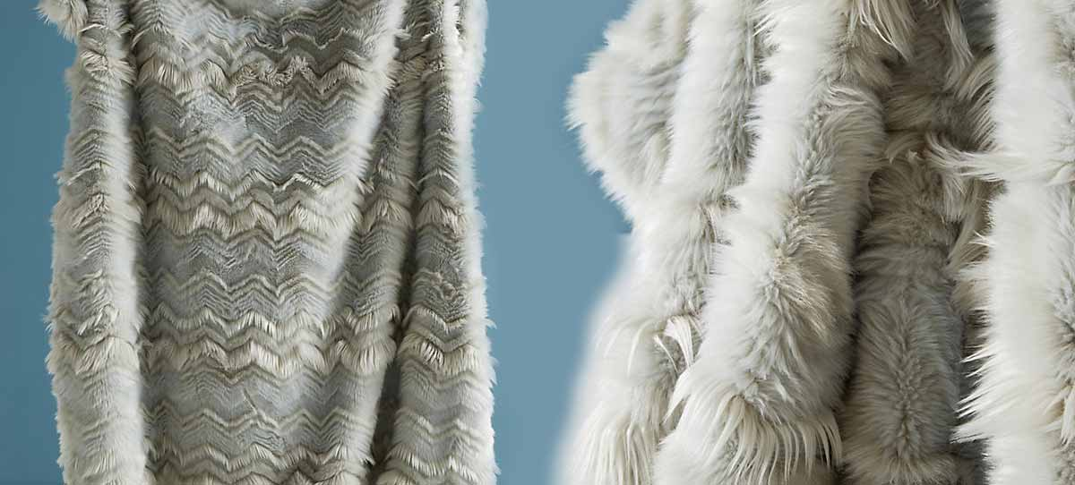 Chevron Faux Fur Throw Blanket by Anthropologie
