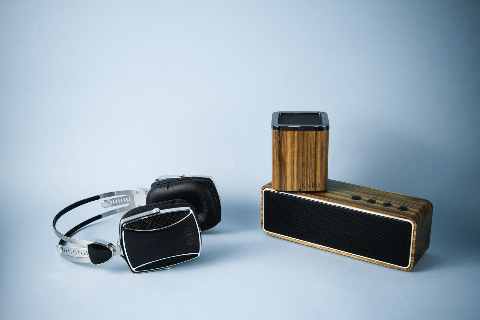 lstn sound wood bluetooth speakers and encore headphones for corporate gifts and holiday gifts