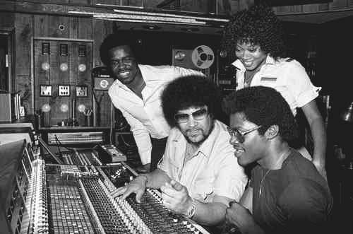 Michael Jackson and Quincy Jones go over a recording at Motown's Studio A