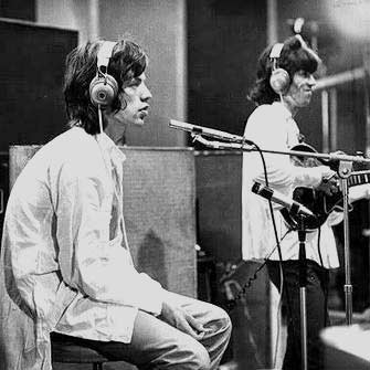 Mick Jagger and Keith Richards recording at Muscle Shoals Sound Studio