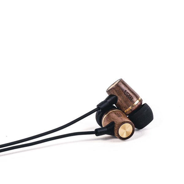 Walnut Wembley Earbud w/ volume control