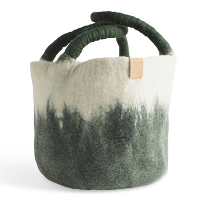 Wool basket, moss green