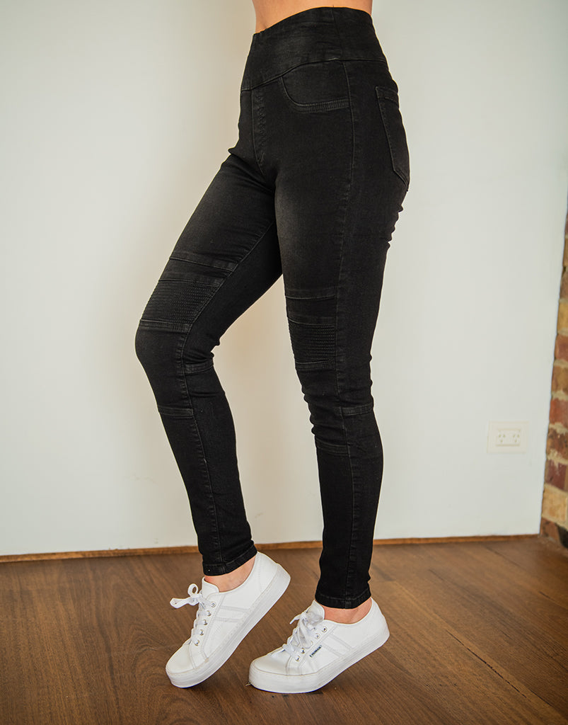 Gigliola Black Biker Jeggings