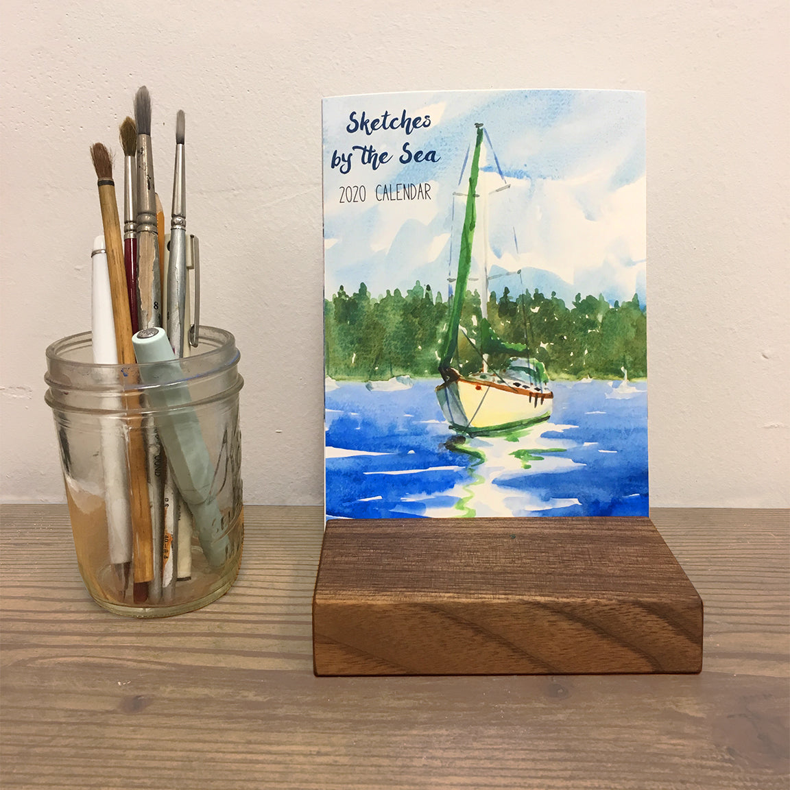 Coastal Watercolored Desk Calendar 2020