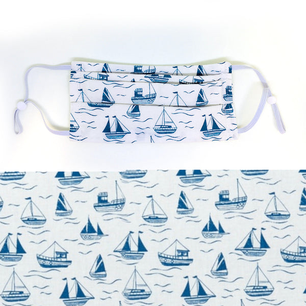 Boats: Blue on White Cotton Mask