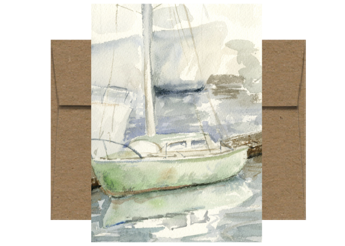 Green Docked Sailboat Watercolor Card