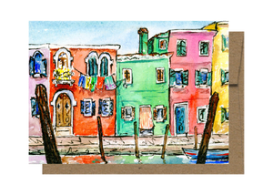 Colorful Burano, Venice, Watercolor Card WC909