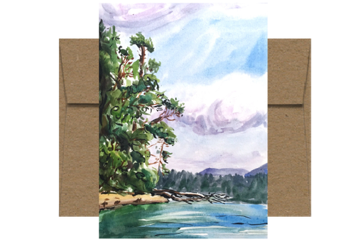 Southern Shore of Blake Island Watercolor Card WC212