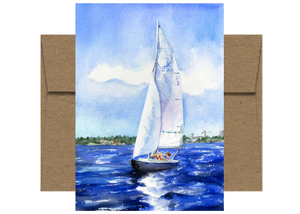 Sailboat on Lake Union Seattle Card WC206