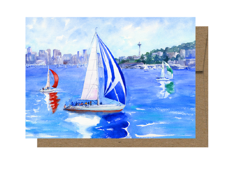 Lake Union Racing, Seattle Space Needle Card WC207