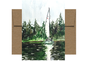 Evergreen Waters Sailboat Watercolor Card WC214