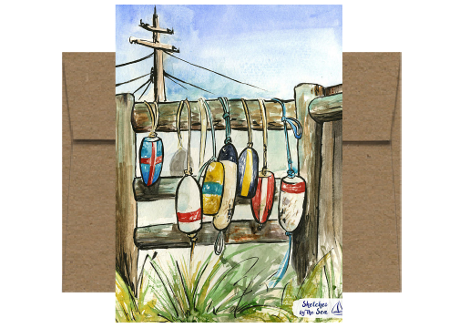 Buoys and Fenders, Watercolor Card WC522