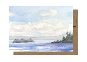 Seattle Ferry Watercolor Card WC208