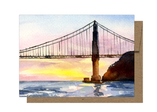 Golden Gate At Sunset, Watercolor Card WC514