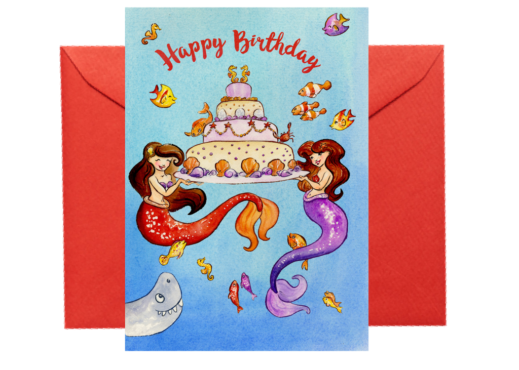 Mermaid Happy Birthday Card Watercolored Whimsy On A