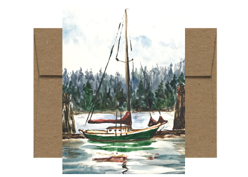Tanbark Sail Covers Watercolor Card WC213