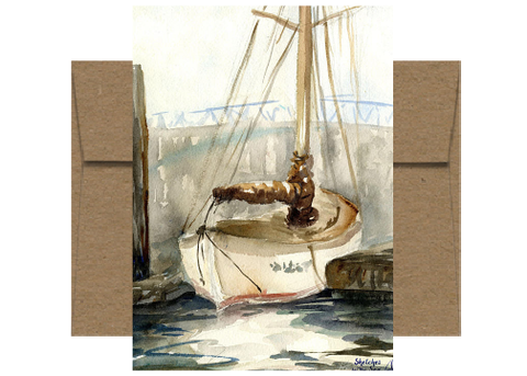 Docked Sailboat Watercolor Card WC520