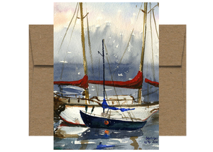 Red Sail Covers Watercolor Card WC510