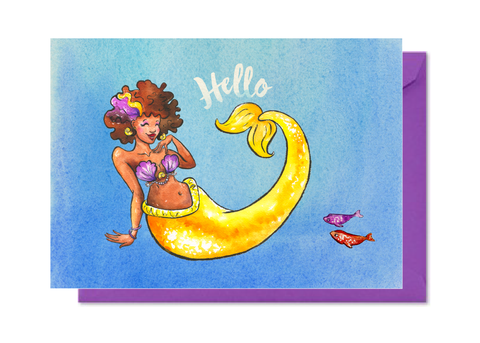 Hello Yellow Mermaid with Afro Card