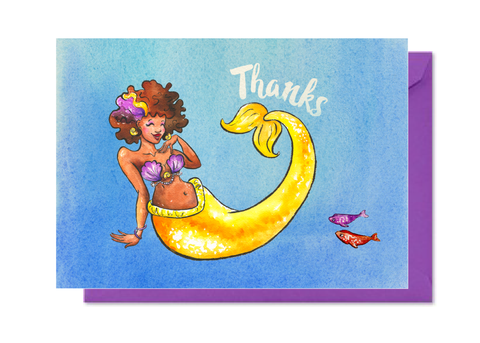 Thanks Yellow Mermaid with Afro Card