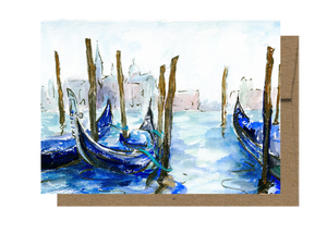 Venice's Gondolas, Watercolor Card WC910