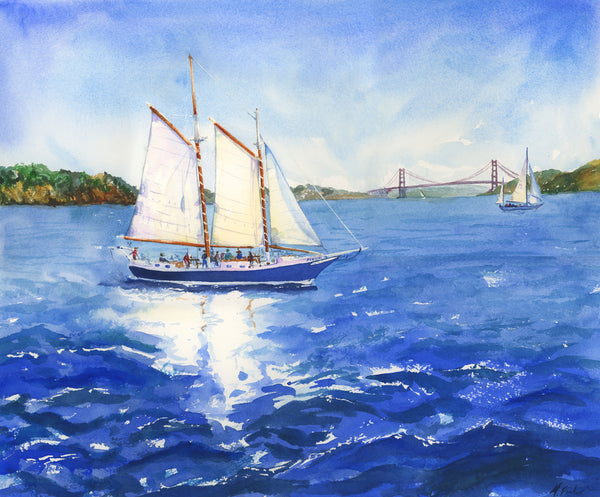 Sailing the Bay with Freda B Original Painting