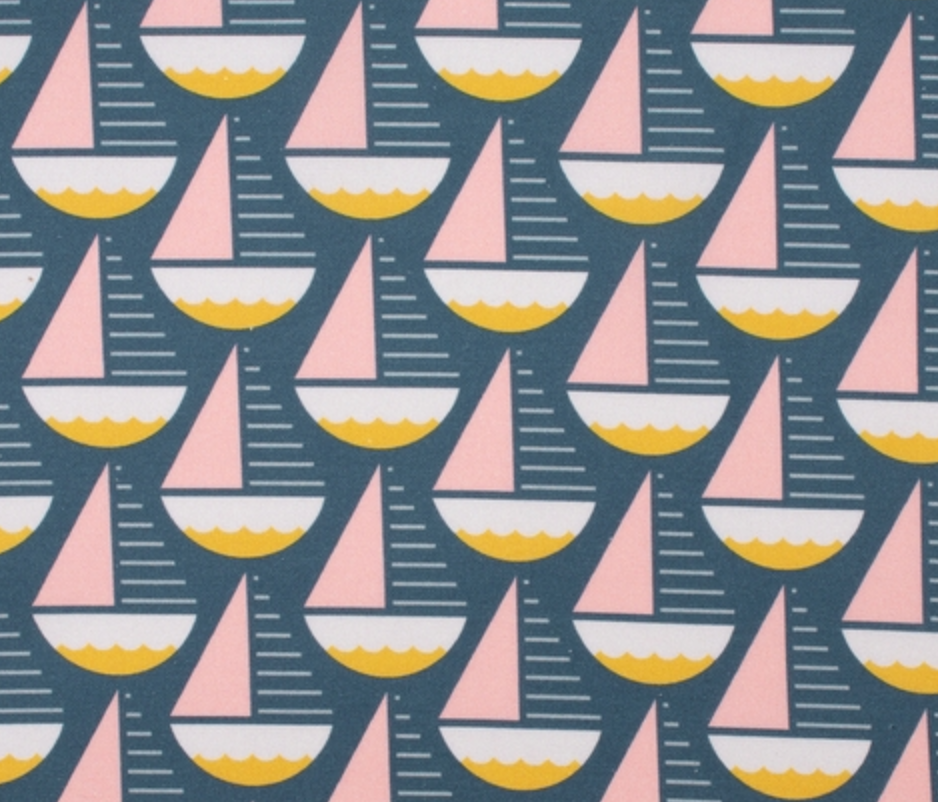 Pink and Yellow Mod Sailboats Cotton Mask