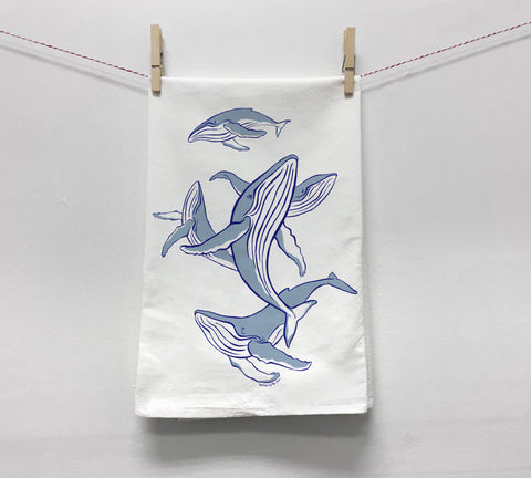 Dancing Humpbacks Tea Towel