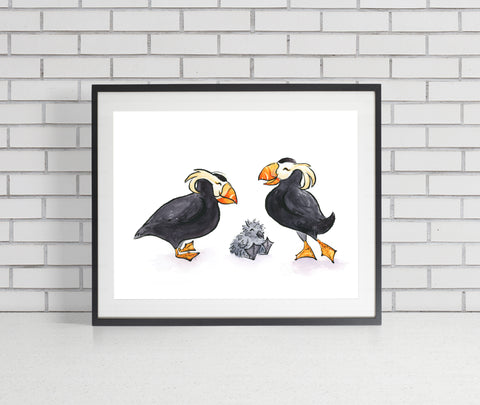 Tufted Puffins Art Print