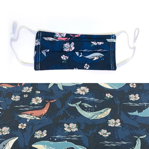 Whales & Flowers Cotton Mask