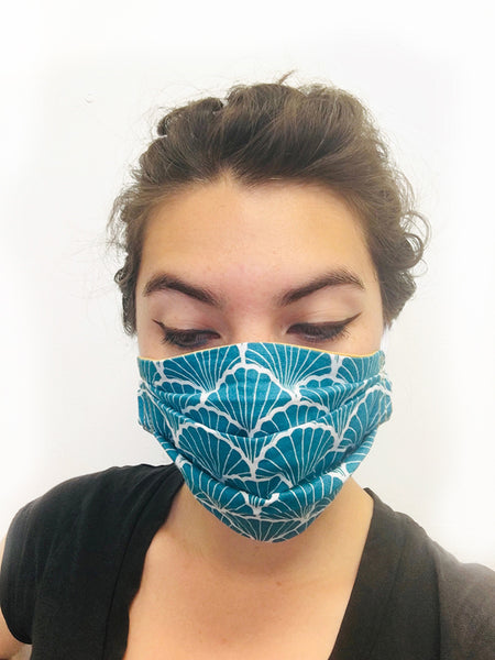 Whales on Blue Cotton Mask