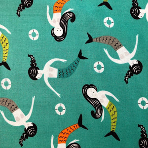 Mermaids on Teal Cotton Mask