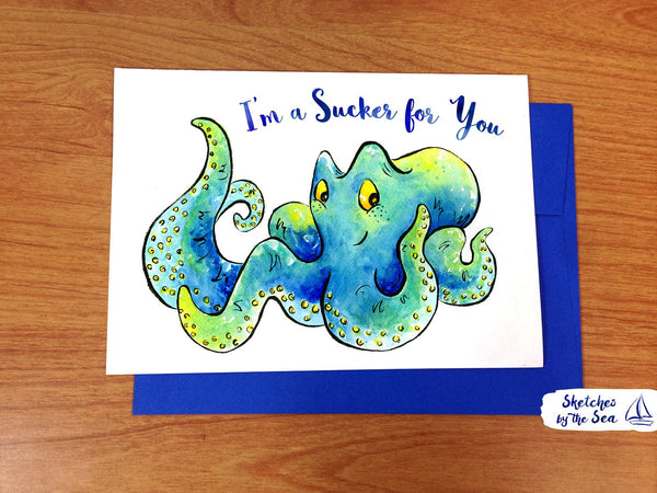 Sucker for You, Octopus Valentine Card C103