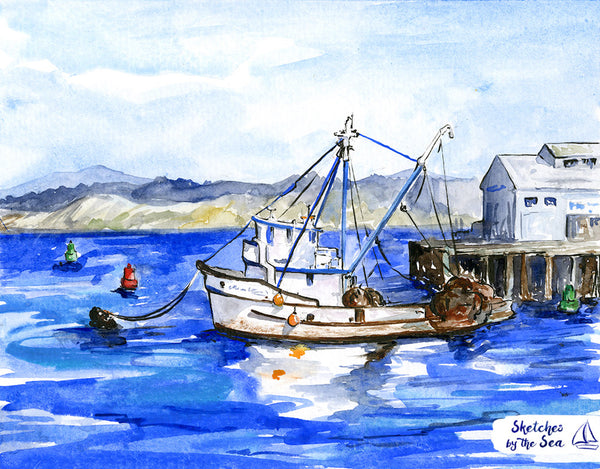 Monterey Fishing Rig. Fisherman's Wharf. Watercolor Painting - Art Print