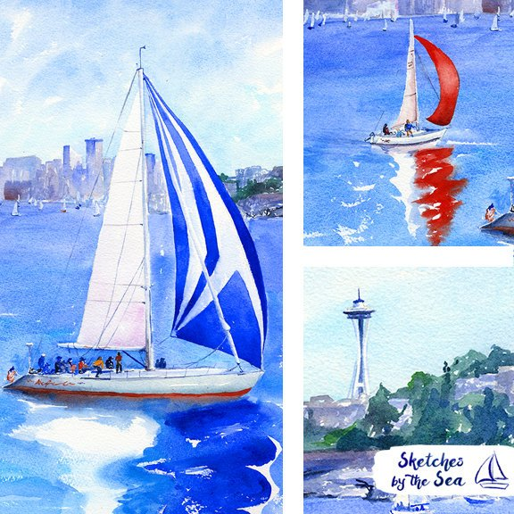Seattle Sailboat Race with the Space Needle Watercolor Painting - Art Print
