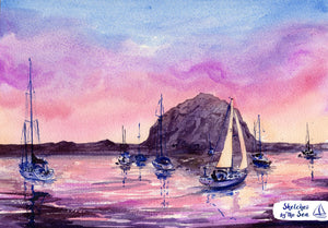 Sunset at Morro Bay, Watercolor Painting Art Print. Nautical Decor