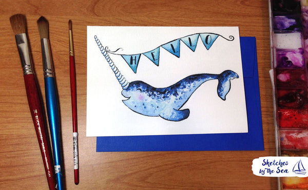 Narwhal Hello Card C102
